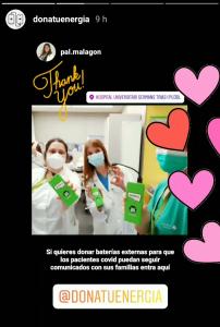 Paz, City Manager Barcelona, entregó baterías Chimpy a varios hospitales de Barcelona y los agradecimientos se dieron inmediatamente a través de Instagram.
