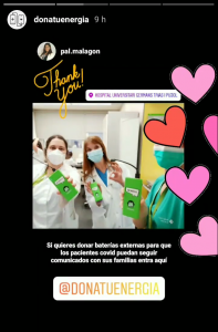 Paz, City Manager Barcelona, delivers Chimpy power banks to various hospitals in Barcelona and the thanks follow immediately via Instagram.
