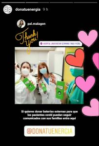 Paz, City Manager de Barcelone, livre des batteries Chimpy à divers hôpitaux de Barcelone et les remerciements suivent immédiatement via Instagram.